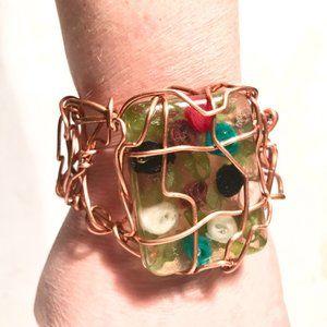 Pure Solid Copper Wire Wrap Floral Cuff Bracelet